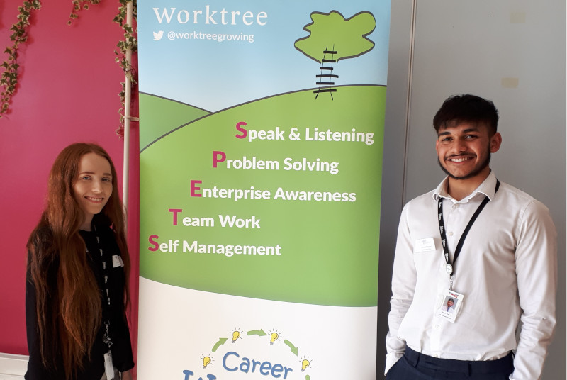 Former Oakgrove School students Simon Thorpe and Emily Munford take part in Career WorkOut at their old School